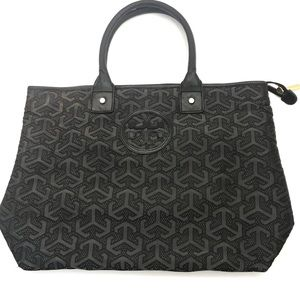 Tori Burch Nylon Logo Shopper Zip Top Tote Bag